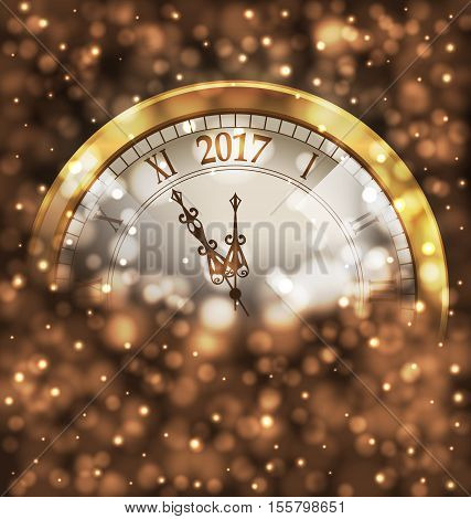 Illustration 2017 New Year Midnight, Glowing Background with Clock - Vector