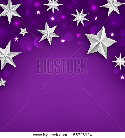 Illustration Purple Abstract Celebration Background with Silver Stars for Your Holiday - Vector