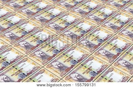 Jamaican dollar bills stacks background. 3D illustration