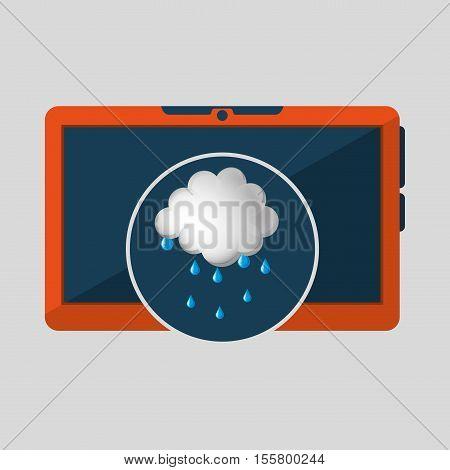 laptop technology. weather forecast cloud rain icon graphic vector illustration eps 10