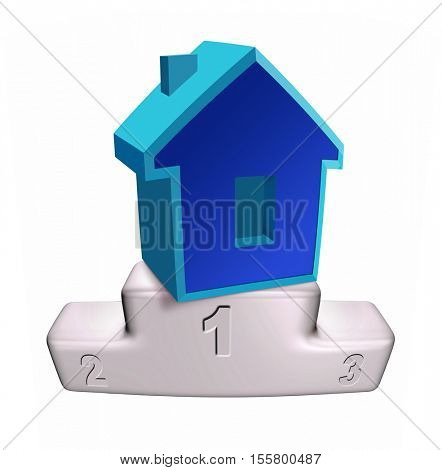 house on the white podium isolated on white background, 3D illustration