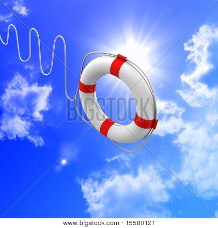 Lifebuoy white against the blue sky and bright sun.