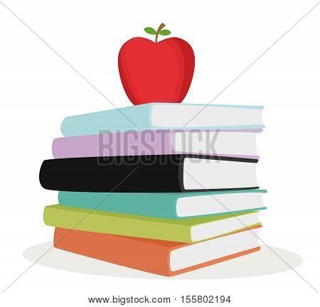 Stack color paper infomation with apple fruit