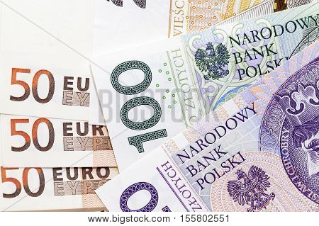 photographed close-up paper money of Poland - zloty and euro