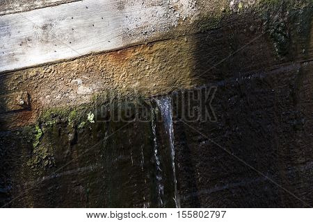 photographed close-up of the old wooden dam, which formed holes flowing dam