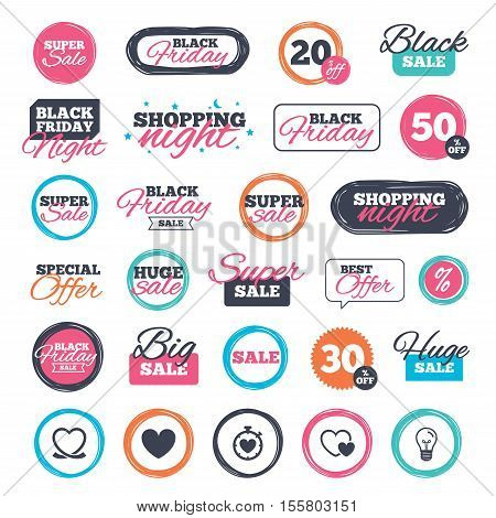 Sale shopping stickers and banners. Heart ribbon icon. Timer stopwatch symbol. Love and Heartbeat palpitation signs. Website badges. Black friday. Vector