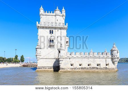 Belem Tower on the Tagus river in the morning famous city landmark in Lisbon Portugal.
