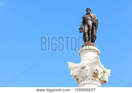 Statue of Don Pedro IV on the Don Pedro square also called Rossio in Lisbon Portugal