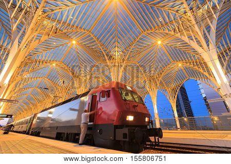 LISBON PORTUGAL - JUNE 01: the station Estacao do Oriente on Jun 01 2014 in Lisbon. The station is designed by world famous architect Santiago Calatrava.