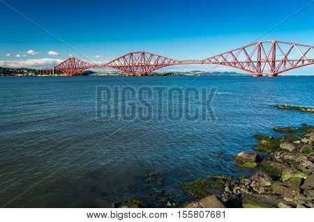 Firth Of Forth Bridge In Scotland In Sunny Day
