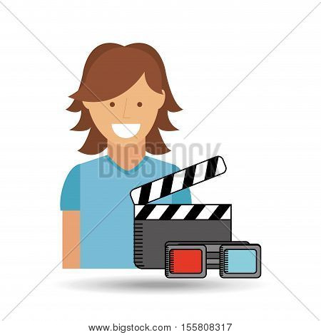 cheerful girl conecpt cinema clapper and glasses design vector illustraion eps 10