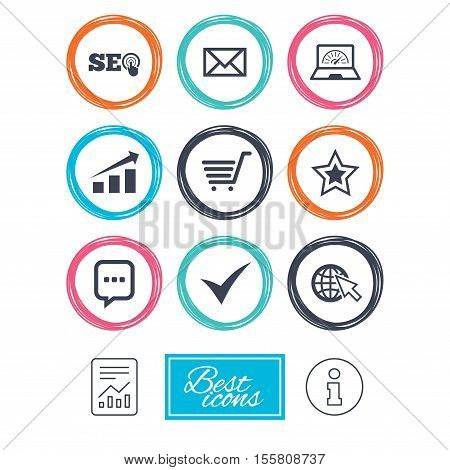 Internet, seo icons. Tick, online shopping and chart signs. Bandwidth, mobile device and chat symbols. Report document, information icons. Vector