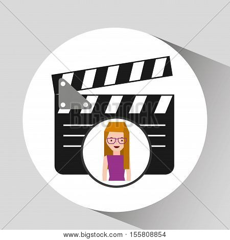 girl cartoon and clapper icon cinema graphic vector illustraion eps 10