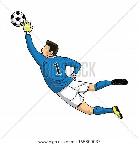 soccer goalkeeper catches the ball on white background