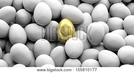 3D Rendering Golden Egg On White Eggs Background