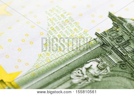 photographed close-up of one hundred euros European green
