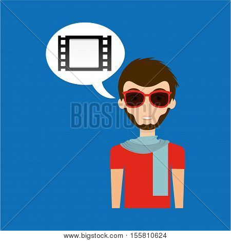 man hipster concept movie cinema film strip icon vector illustration eps 10
