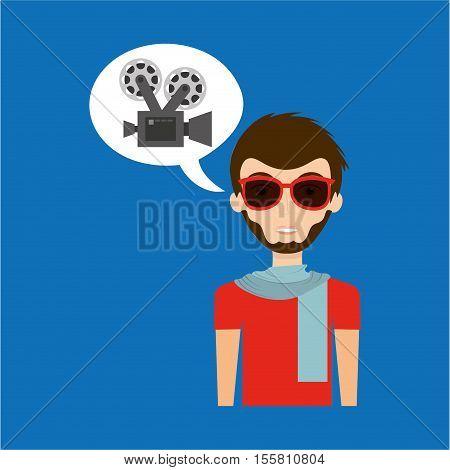 man hipster concept movie cinema camera icon vector illustration eps 10