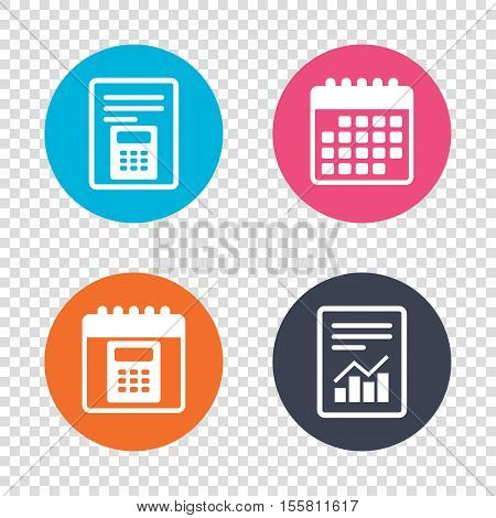 Report document, calendar icons. Calculator sign icon. Bookkeeping symbol. Transparent background. Vector