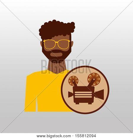 camera movie vintage character icon design vector illustration eps 10