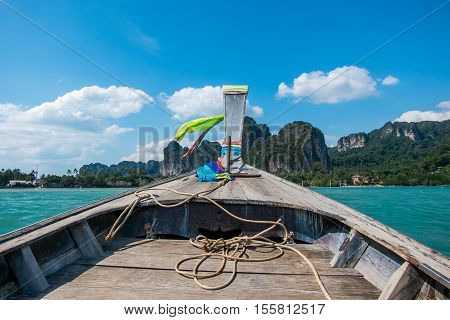 Prow of long tail boat with view of beautiful sea and blue sky in Krabi, Thailand