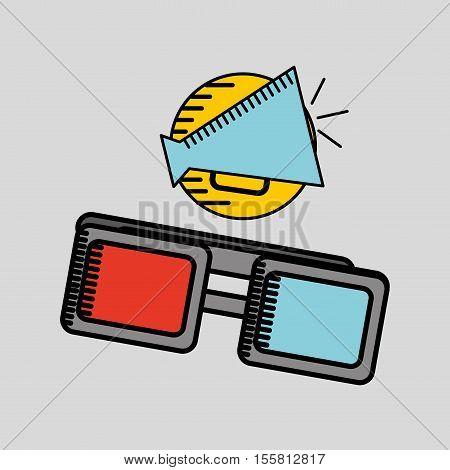 cartoon megaphone cinema movie icon vector illustration eps 10