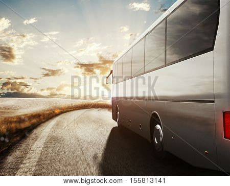 Bus driving on road with landscape background. 3D Rendering