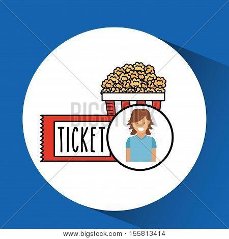 cheerful girl cinema icon pop corn ticket design vector illustraion eps 10