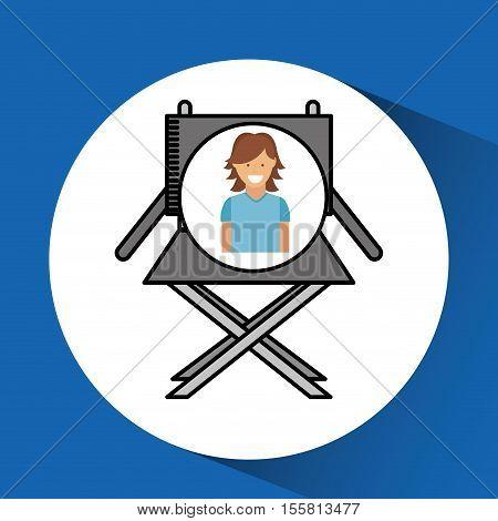 cheerful girl cinema chair megaphone icon design vector illustraion eps 10