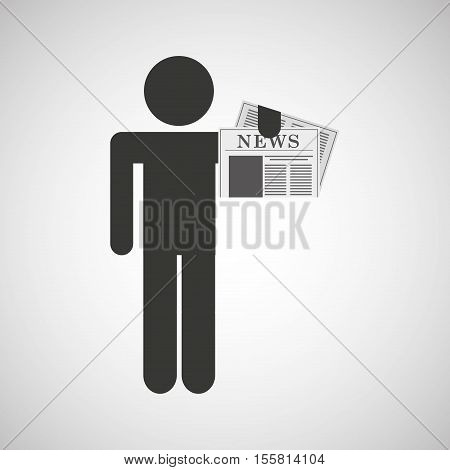 silhouette man newspaper icon vector illustration eps 10