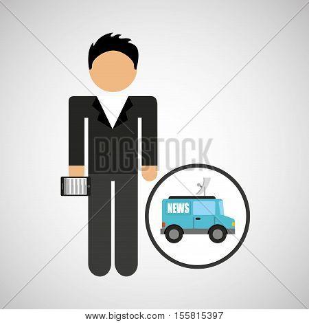 man smartphone and news tv car design vector illustration eps 10