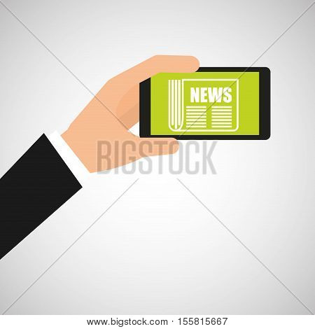 smartphone hand hold news headline design vector illustration eps 10