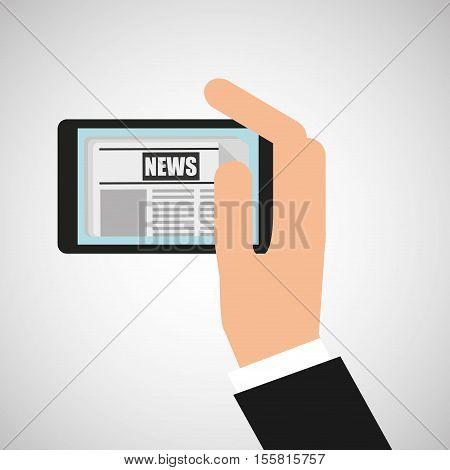 news digital mobile hand holding design vector illustration eps 10