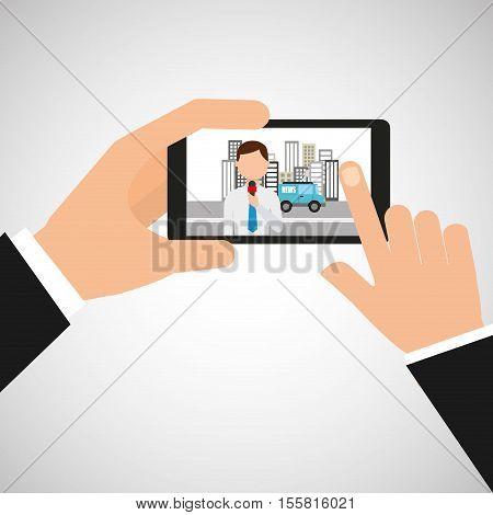 hand hold mobile news reporter vector illustration eps 10