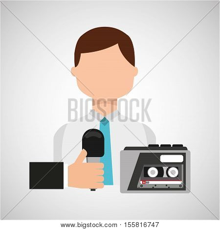 interview news microphone and tape recorder vector illustration eps 10