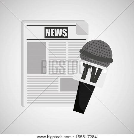 news paper microphone tv icon vector illustration eps 10