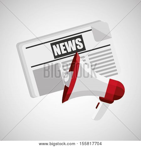 concept news paper megaphone speaker graphic vector illustration eps 10