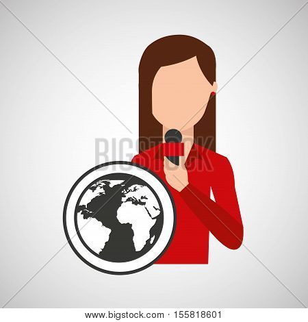character woman reporter news world graphic vector illustration eps 10