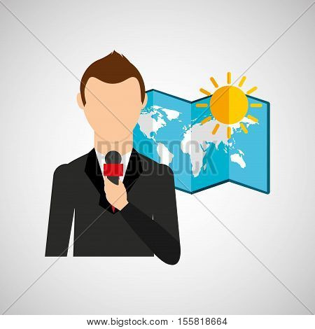 tv news weather reporter sunny day icon vector illustration eps 10