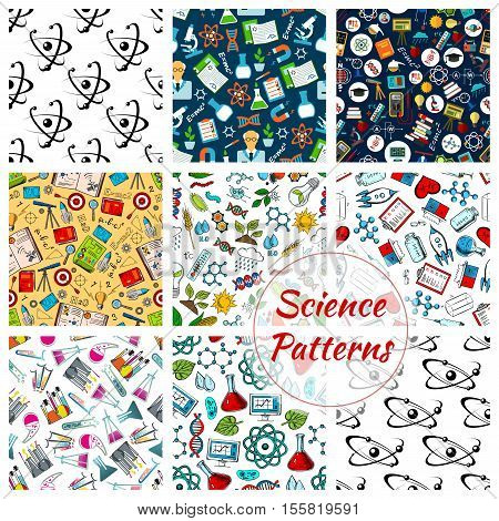 Science vector seamless patterns set of stationery, atom and formula, microscope and telescope, dna, chemicals, substance and gene, molecule and globe, proton and magnet, calculator, telescope, rocket, heart, pill poster