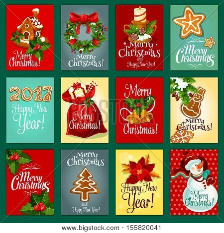 Christmas and New Year greeting card set with gift box in santas bag, snowman, holly berry with bell, gingerbread house, pine tree xmas wreath with red bow, candle, ginger cookie and poinsettia flower