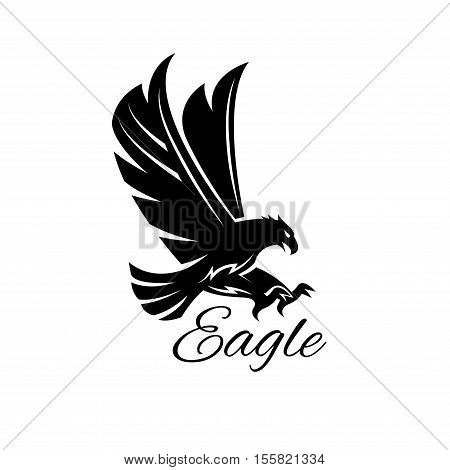 Eagle bird black icon. Vector heraldic emblem of powerful wild falcon with stretching clutches. Symbol of eagle hawk predator for sport team mascot shield, company badge, guard service, hunting club label
