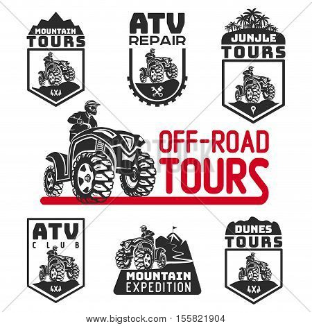 ATV vehicle logo and emblems. All-terrain 4x4 quad illustration.