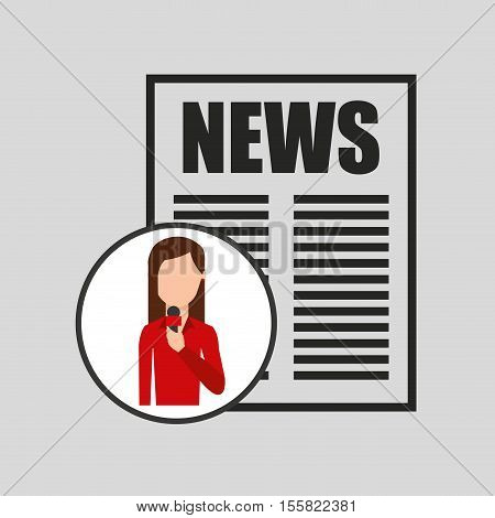 character woman reporter news headline microphone graphic vector illustration eps 10