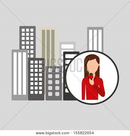character woman reporter news broadcast graphic vector illustration eps 10