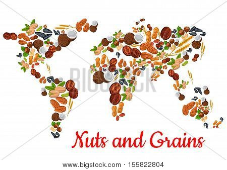 Nuts and grains world map. Vector nut, grain, kernels, natural nutritious coconut, almond, pistachio, cashew and hazelnut, walnut and bean pod, peanut and sunflower, pumpkin seeds. Vegetarian healthy raw food concept