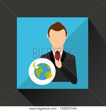 tv news weather reporter globe icon vector illustration eps 10