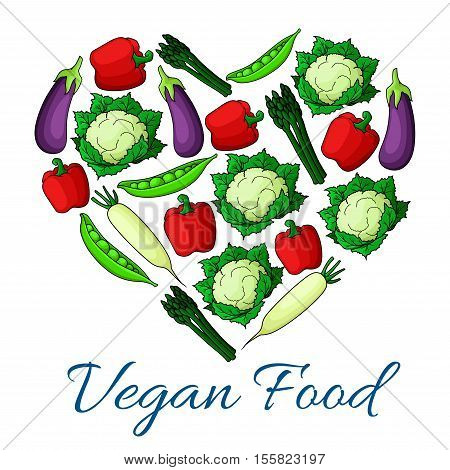 Vegan food heart. Vegetarian symbol of fresh natural farm vegetables cauliflower, pepper, pea, asparagus, daikon radish, eggplant