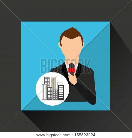 reporter man weather forecast news broadcast design vector illustration eps 10