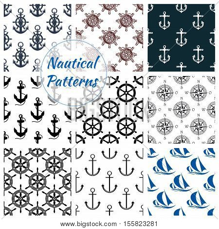Nautical pattern set of navy anchor, ship steering wheel symbol. Blue marine seamless background with yacht, compass vector icons